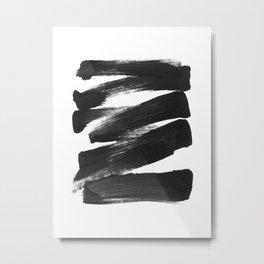 Black Brushstrokes Abstract Ink Painting Metal Print