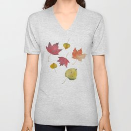 Autumn Leaves in Yellow, Red, and Orange Unisex V-Neck