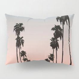 California Sunset // Palm Tree Silhouette Street View Orange and Blue Color Sky Beach Photography Pillow Sham