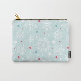 Christmas Snowflakes with Red and Blue Polka Dots Pattern Carry-All Pouch