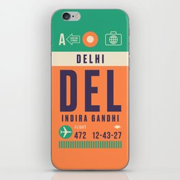 Retro Airline Luggage Tag - DEL Delhi India iPhone Skin