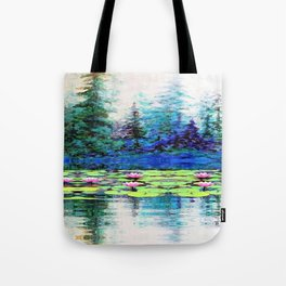 BLUE SPRUCE GREEN LILY PADS LAKE ART Tote Bag