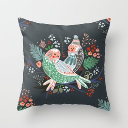 Holiday Birds Love Throw Pillow