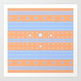 Striped light blue and orange background with stars Art Print