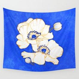 Ultramarine Blue :: Anemones Wall Tapestry