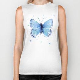 Blue Butterfly Watercolor Butterflies Animals Biker Tank