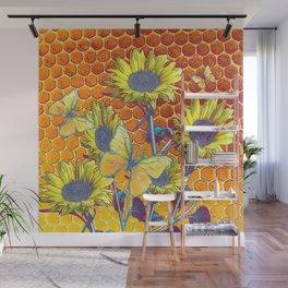 GREY-YELLOW BUTTERFLIES & SUNFLOWERS ARTISTIC HONEYCOMB DRAWING Wall Mural
