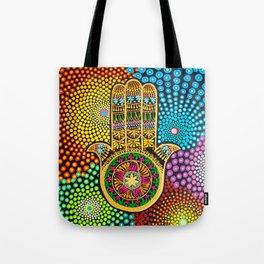 Hamsa Hand, hand of fatima, mandala, yoga art, mandala art, meditation art Tote Bag