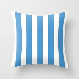 Celestial blue - solid color - white vertical lines pattern Throw Pillow