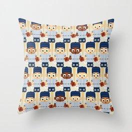 Baseball Pinstripes White and Blue - Super Cute Sports Stars Throw Pillow