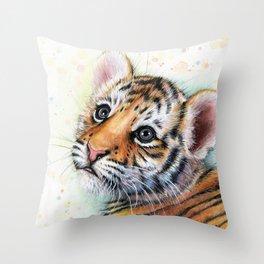 Nursery-Artwork-Tiger-Cub-Baby-Animal-Watercolor-Jungle-Safari-Animals Throw Pillow