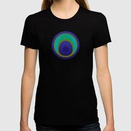 stylized peacock feather pattern T-shirt