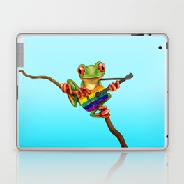 Tree Frog Playing Acoustic Guitar with Gay Pride Rainbow Flag Laptop & iPad Skin