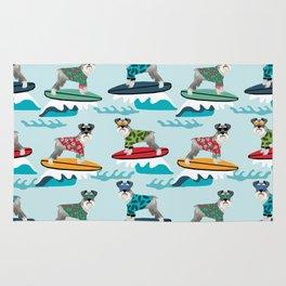 schnauzer surfing dog breed pattern Rug