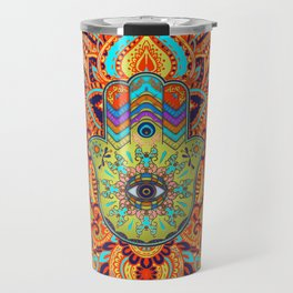 Colorful  Hamsa Hand -  Hand of Fatima Travel Mug