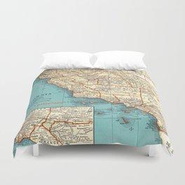 So Cal Surf Map Duvet Cover
