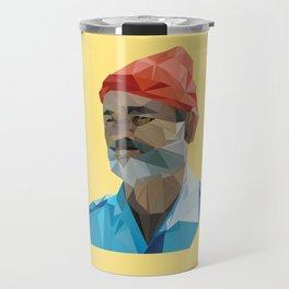 Steve Zissou low poly portrait Travel Mug