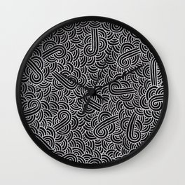 Black and faux silver swirls doodles Wall Clock