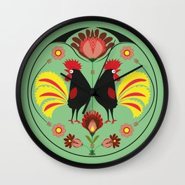 Polish Folk With Decorative Roosters Wall Clock