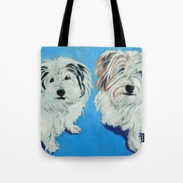 Two White Pups Dog Portrait Tote Bag
