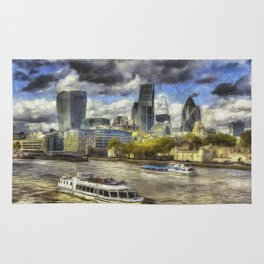 The River Thames And City Art Rug