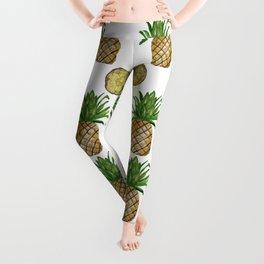 Watercolor Pineapples - repeat pattern Leggings