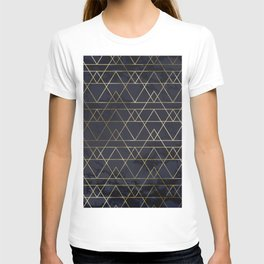 Modern Deco Gold and Marble Geometric Mountains on Navy Blue T-shirt