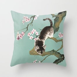 Fortune Cat In Cherry Tree Throw Pillow