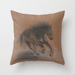 Horse Running Throw Pillow