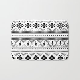 Fair Isle christmas pattern snowflakes camping winter trees christmas tree minimal black and white Bath Mat