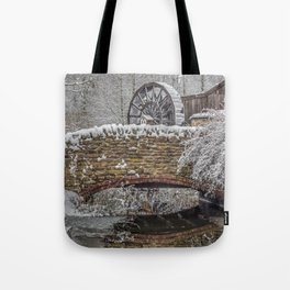 watermill in the snow Tote Bag