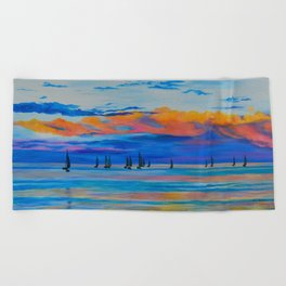 I'd Rather Be Sailing by Teresa Thompson Beach Towel