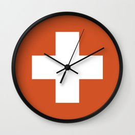 Swiss Cross Orange Wall Clock