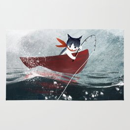 """Catfish"" - cute fantasy cat mermaids illustration Rug"