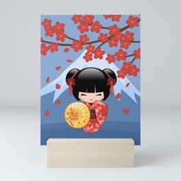 Japanese Red Sakura Kokeshi Doll on Blue Mini Art Print