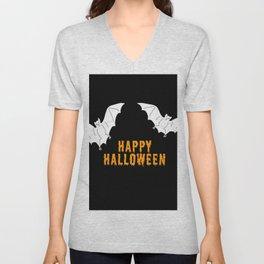 Happy Halloween flying bats Unisex V-Neck