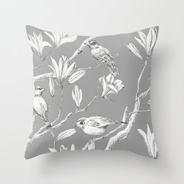 Magnolia flower and birds ink-pen drawing Throw Pillow