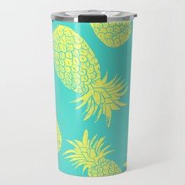 Pineapple Pattern - Turquoise & Lemon Travel Mug