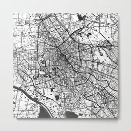 Tianjin Map Gray Metal Print