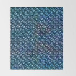 Shimmering Blue Metallic Mermaid Scales Throw Blanket