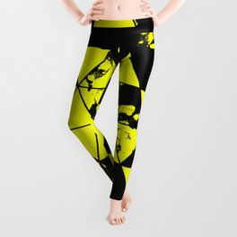 Splatter Triangles In Black And Yellow Leggings