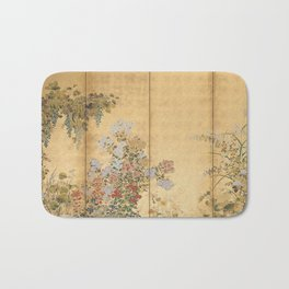 Japanese Edo Period Six-Panel Gold Leaf Screen - Spring and Autumn Flowers Badematte
