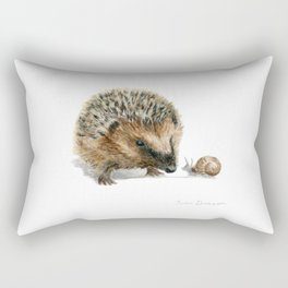 """""""Close Encounter"""" painting of a Hedgehog and Snail by Teresa Thompson Rectangular Pillow"""
