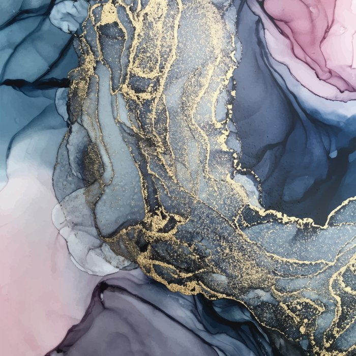 Blush, Payne's Gray and Gold Metallic Abstract Duvet Cover