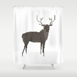 Pixel Stag Shower Curtain