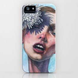 Katty and Flower watercolor iPhone Case