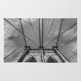 NEW YORK CITY Brooklyn Bridge in Detail | monochrome Rug
