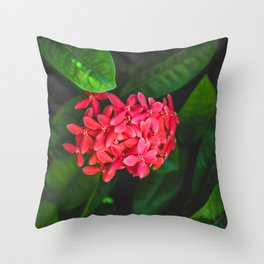 Secret Red Bunch Of Blowers Among Bright Green Leaves Nature Art Throw Pillow