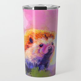 Sweet Hedgehog, cute pink and purple animal painting Travel Mug