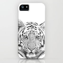 Black and white tiger iPhone Case